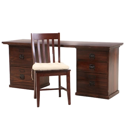 Pine with Walnut Finish Three Piece Kneehole Desk and Chair, Contemporary