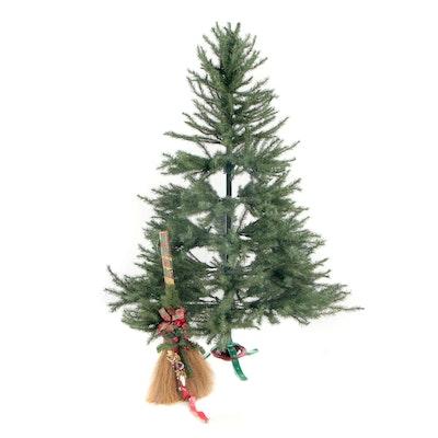 Mountain King 6'  Sierra Fir Christmas Tree and Decorative Broom