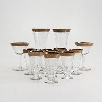 "Tiffin-Franciscan ""Rambler Rose"" Etched Gold Encrusted Glass Stemware"