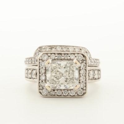 18K White Gold 2.82 CTW Diamond Ring Set with GIA Report