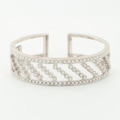 18K White Gold 3.30 CTW Diamond Hinged Cuff Bracelet