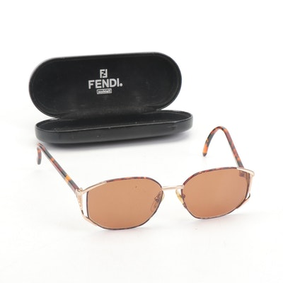 "Fendi Italy ""Classic Tortoise"" Plastic Framed Sunglasses with Case"