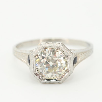 Belais Art Deco 18K White Gold Diamond and Blue Sapphire Ring