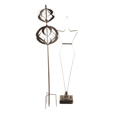 Stainless Steel Figure and Metal Wind Spinner Outdoor Decor