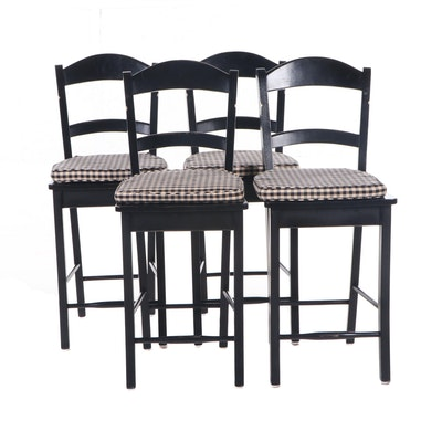 Four Contemporary Black-Painted Wood Counter Chairs