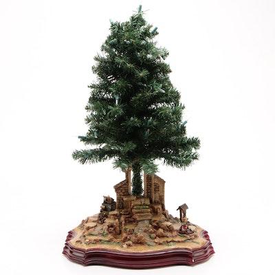 "Hawthorne Village ""Nativity Tree"" Musical Nativity Scene Background"