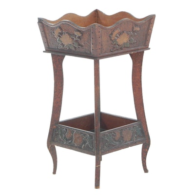 Pyrography Two-Tiered Plant Stand with Chrysanthemum Motif, Early 20th Century