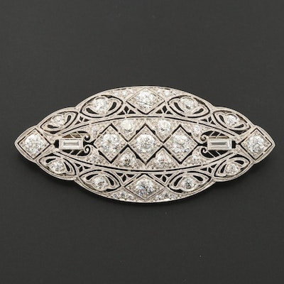 Edwardian Platinum 2.55 CTW Diamond Openwork Brooch