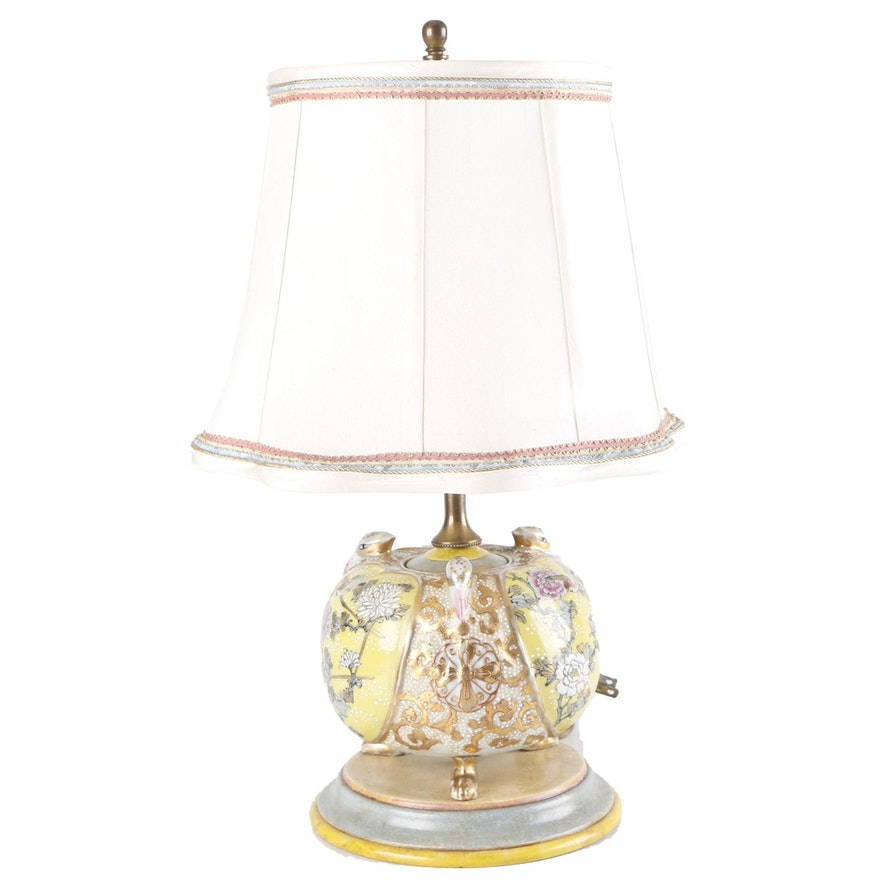 Japanese Moriage Porcelain Boudoir Lamp
