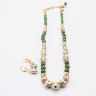 Gold Tone Cloisonne and Nephrite Bead Jewelry Set