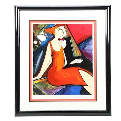 "Linda Le Kinff 1994 Serigraph ""Stargazing"""