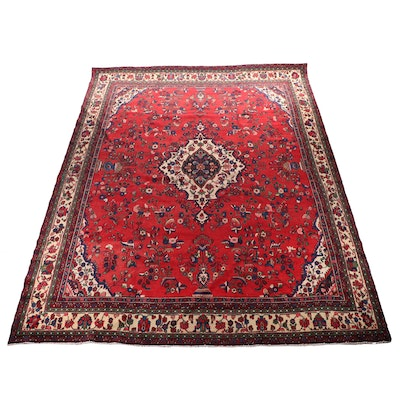 Hand-Knotted Persian Hamadan Wool Room Sized Rug