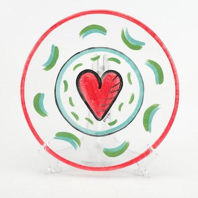 Kosta Boda Red Heart Glass Platter by Ulrica Hydman-Vallien