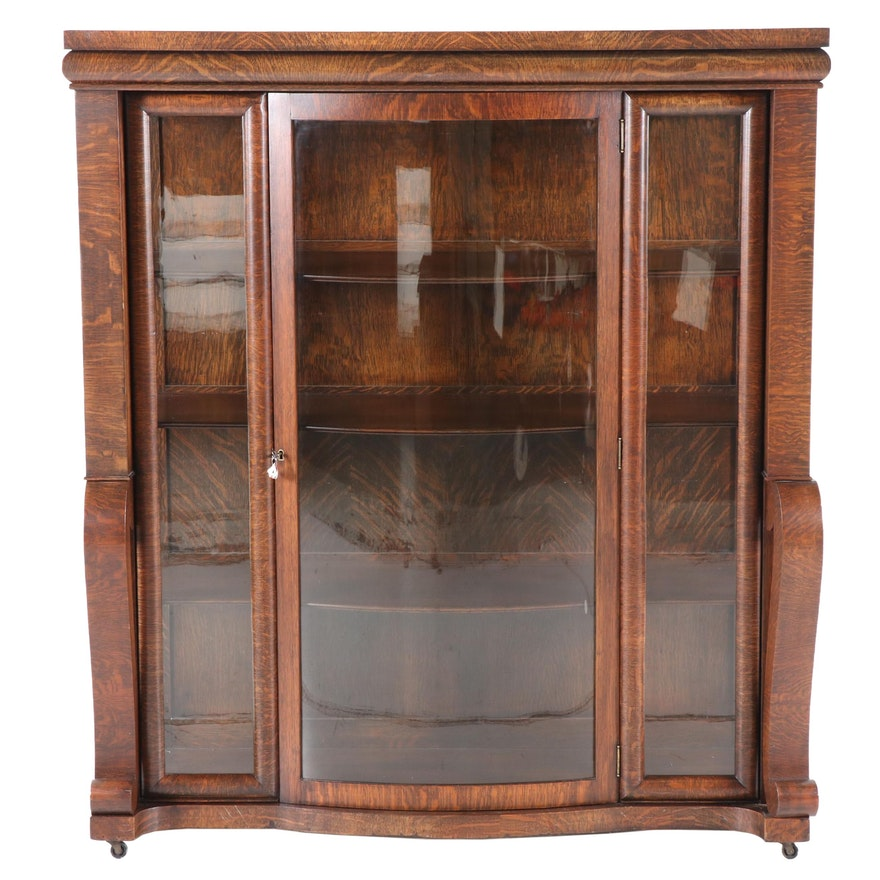 American Empire Tiger Oak China Cabinet, Early 20th Century