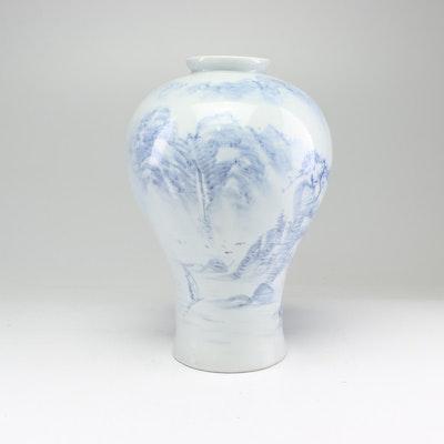 Japanese Blue and White Glazed Stoneware Vase, Meiji Period