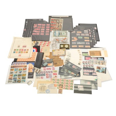 Collection of Vintage Stamps and Acrylic Coin & Currency Paperweights