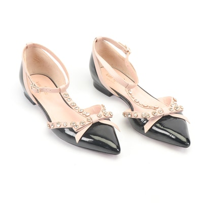 Kate Spade New York Ankle-Strap Embellished Two-Tone Leather Flats