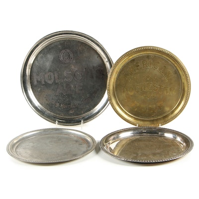 Silver and Brass Plate Serving Trays Including Genesee, Molson, and More