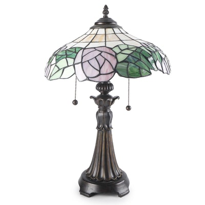 Cast Metal Table Lamp with Slag Glass Shade, Contemporary
