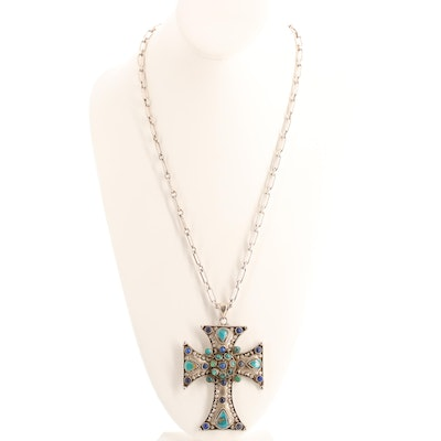 Southwestern Sterling Silver Turquoise and Lapis Lazuli Cross Pendant Necklace