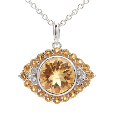 "Sterling Silver Citrine and White Topaz ""Evil Eye"" Pendant Necklace"