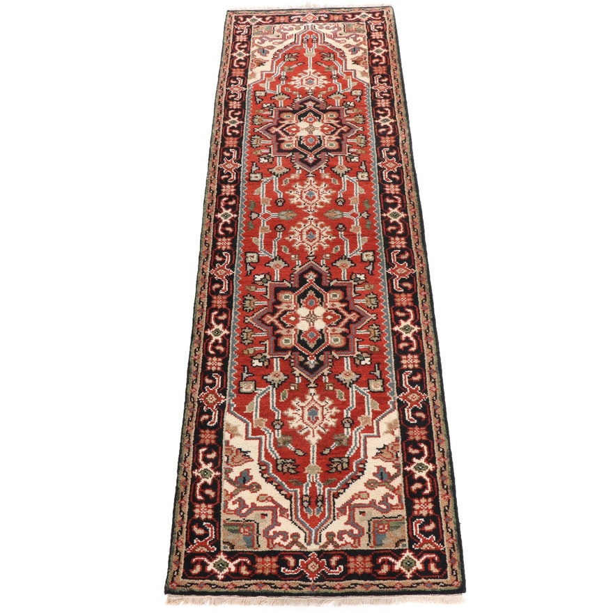 Hand-Knotted Indian Heriz Wool Carpet Runner