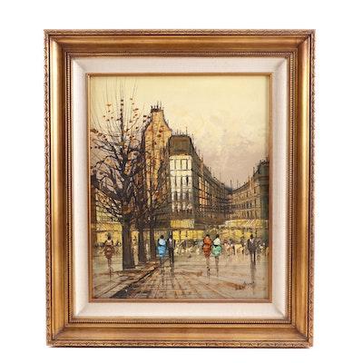 Lentini Oil Painting of Street Scene