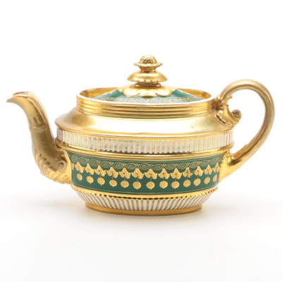 French Green Ground and Gilded Porcelain Teapot 1820-40