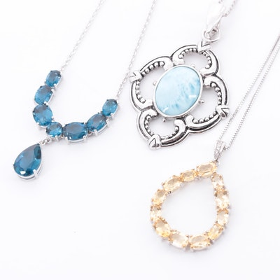 Sterling Silver Necklaces with Blue Topaz, Citrine and Larimar