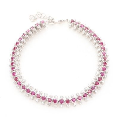 Sterling Silver Glass Filled Corundum and Cubic Zirconia Line Bracelet