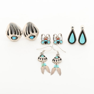 Southwestern Sterling Silver Earrings with Turquoise, Coral and Mother of Pearl