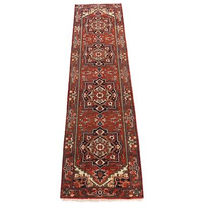 Hand-Knotted Indian Heriz Wool Carpet Runner