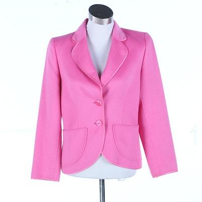 Escada Pink Wool Angora Blend Jacket with Ribbon Trim