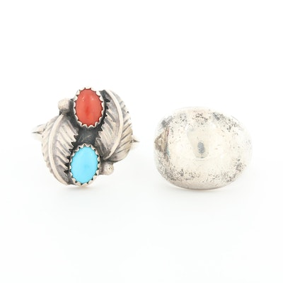 Sterling Silver Rings Including Vintage Southwestern Style Coral and Turquoise