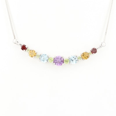 Sterling Silver Amethyst, Topaz and Peridot Necklace