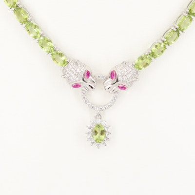 Sterling Silver Ruby, Cubic Zirconia and Peridot Twin Panther Head Necklace