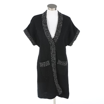Carolina Herrera Black V-Neck Long Sweater Jacket with Bouclé Trim