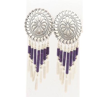 Southwestern Style Sterling Silver Sugilite Dangle Earrings