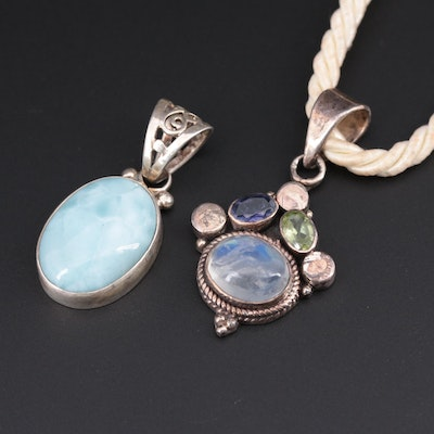 Sterling Pendants on Cord Necklace with Larimar, Labradorite, Peridot and Iolite