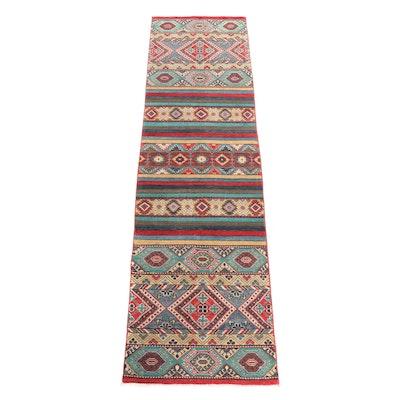 Hand-Knotted Pakastani Kazak Wool Carpet Runner