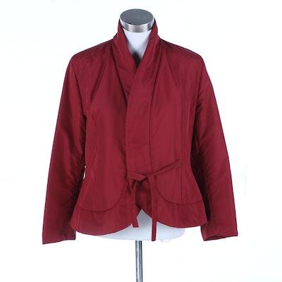 Garella Gallery Paris Carmine Red Quilted Jacket with Tie Waist