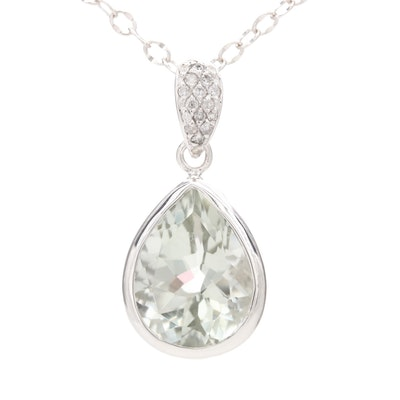 Sterling Silver Diamond and Prasiolite Pendant Necklace
