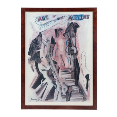 """Larry Rivers 1988 Offset Lithograph """"Art at the Armory"""""""
