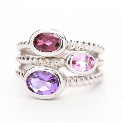 Sterling Silver Amethyst, Rhodolite Garnet and Topaz Ring
