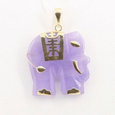 Michael Anthony 14K Yellow Gold Jadeite Elephant Pendant