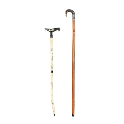 Chinese Painted Bone and Carved Wood Walking Canes