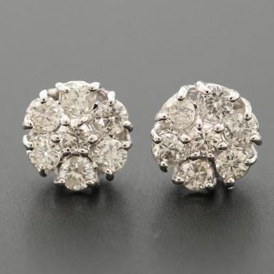 10K White Gold Diamond Cluster Earrings