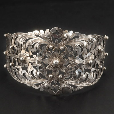 Vintage 800 Silver Openwork Cuff Bracelet