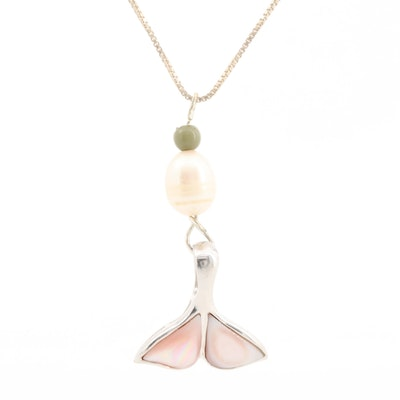 Sterling Whale Tail Pendant with Cultured Pearl, Mother of Pearl and Green Glass