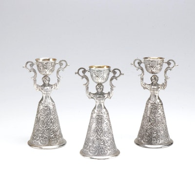"Silver Plate ""Jungfrauenbecher"" Wager Cups in the German Style"